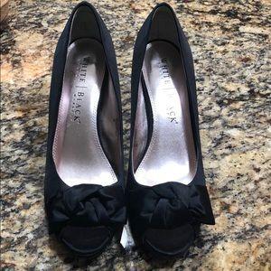 White House Black Market satin peep toe heels
